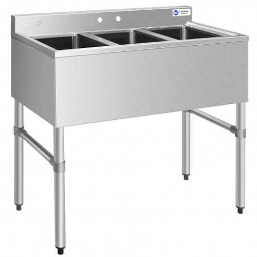NSF Stainless Steel Utility Sink with 3 Compartment Commercial Kitchen Sink  - Color: Silver