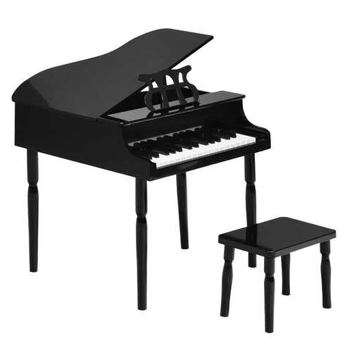 30-Key Wood Toy Kids Grand Piano with Bench & Music Rack-Black