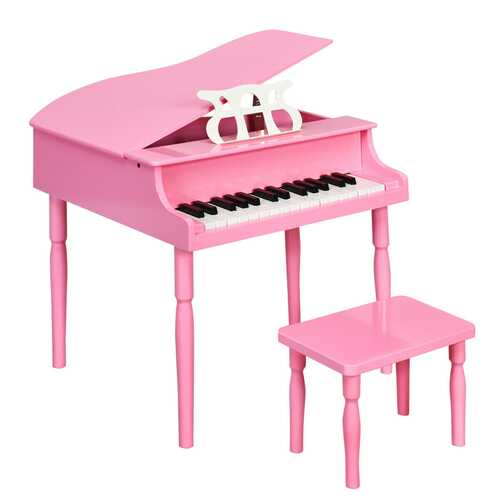 30-Key Wood Toy Kids Grand Piano with Bench & Music Rack-Pink