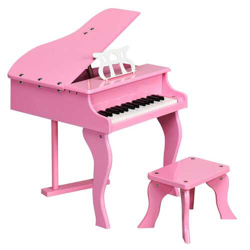 Classic 30 Key Baby Grand Wooden Piano with Bench-Pink - Color: Pink