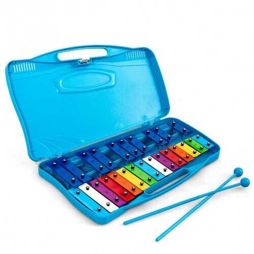 25 Notes Kids Glockenspiel Chromatic Metal Xylophone-Blue