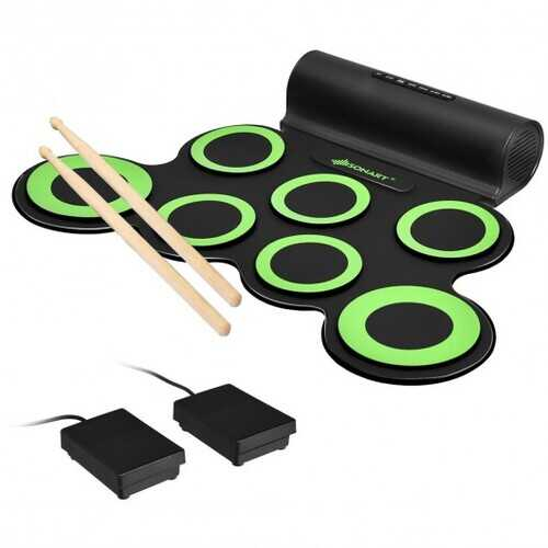 Set 7 Kit Electronic Roll Up Pads MIDI Drum -Green - Color: Green