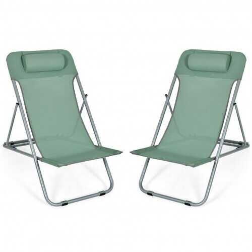 Portable Beach Chair Set of 2 with Headrest -Green - Color: Green