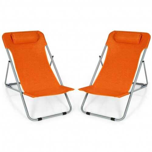Portable Beach Chair Set of 2 with Headrest -Orange - Color: Orange