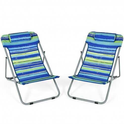 Portable Beach Chair Set of 2 with Headrest -Blue - Color: Blue