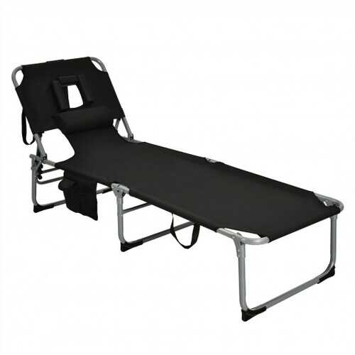 Folding Beach Lounge Chair with Pillow for Outdoor-Black - Color: Black