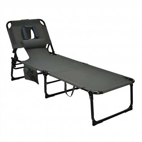 Folding Beach Lounge Chair with Pillow for Outdoor-Gray - Color: Gray