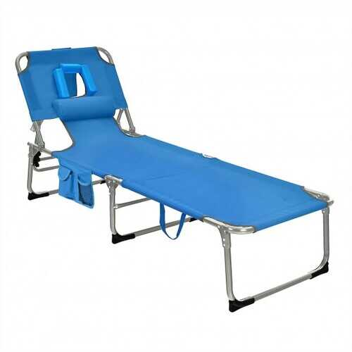Folding Beach Lounge Chair with Pillow for Outdoor-Blue - Color: Blue