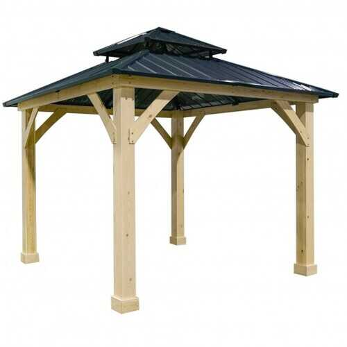 10' x 10' Patio Hardtop Gazebo with Double Steel Roof for Outdoor-Gray - Color: Gray