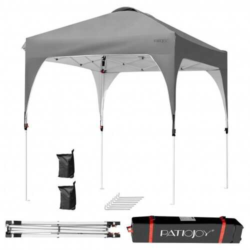 6.6 x 6.6 FT Pop Up Height Adjustable Canopy Tent with Roller Bag-Gray - Color: Gray
