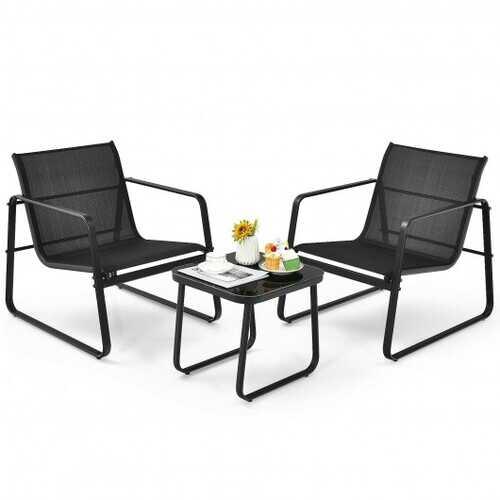3 Pieces Patio Bistro Furniture Set with Glass Top Table Garden Deck-Black - Color: Black