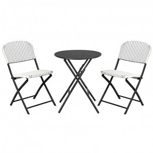 3 Pieces Patio Rattan Bistro Set with Round Dining Table and 2 Chairs