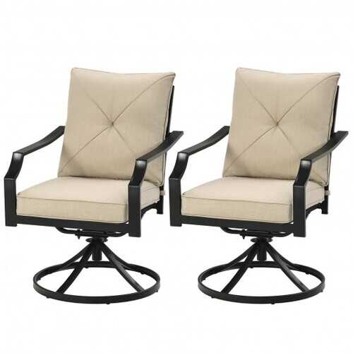 Set of 2 Patio Swivel Dining Chairs with Cushions - Color: Beige