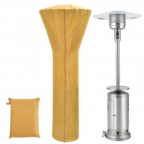 Patio Standing Propane Heater Cover Waterproof with Zipper and Bag-Beige - Color: Beige
