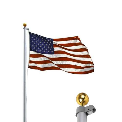 20 ft Aluminum Sectional Flagpole Kit w/ Halyard Pole and American Flag