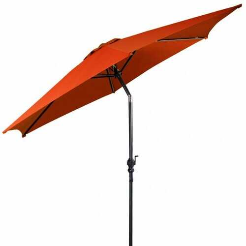 10 ft 6 Ribs Patio Umbrella with Crank without Weight Base-Orange - Color: Orange