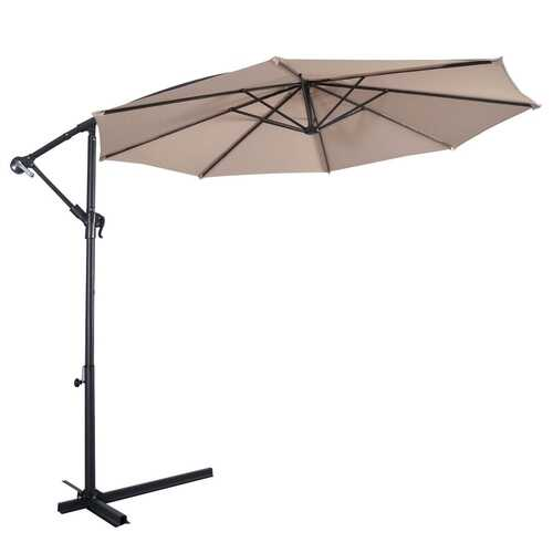 10' Hanging Umbrella Patio Sun Shade Offset Outdoor Market W/T Cross Base without Weight Base-beige