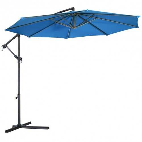 10' Patio Outdoor Sunshade Hanging Umbrella without Weight Base-Blue