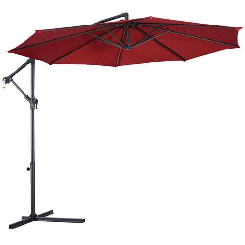 10' Hanging Umbrella Patio Sun Shade Offset Outdoor Market without Weight Base-Burgundy