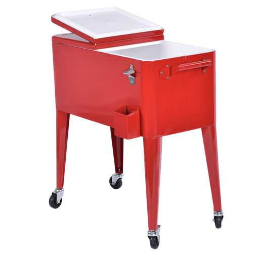 Red Portable Outdoor Patio Cooler Cart - Color: Red