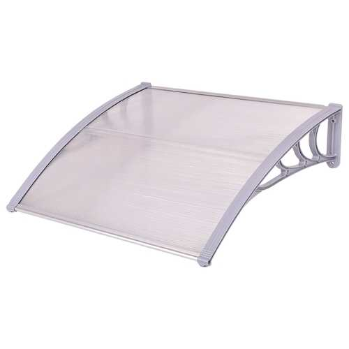 """40"""" x 40"""" Outdoor Polycarbonate Front Door Window Awning Canopy-Gray - Color: Gray"""