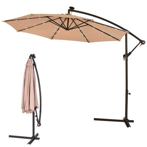 "10""  Patio Hanging Solar LED Umbrella Sun Shade with Cross Base-Beige"