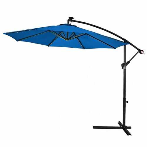 "10""  Patio Hanging Solar LED Umbrella Sun Shade with Cross Base-Blue"
