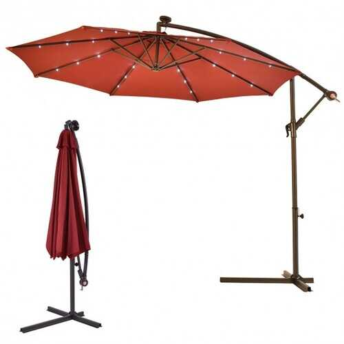 "10""  Patio Hanging Solar LED Umbrella Sun Shade with Cross Base-Burgundy"