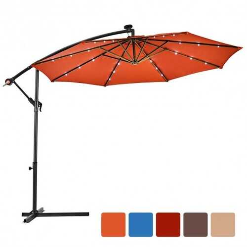 "10""  Patio Hanging Solar LED Umbrella Sun Shade with Cross Base-Orange"