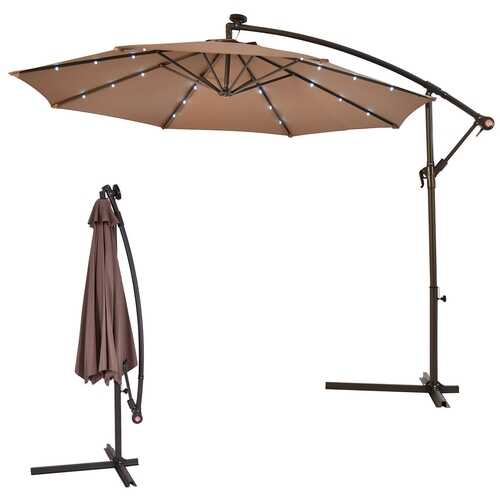 "10""  Patio Hanging Solar LED Umbrella Sun Shade with Cross Base-Tan"