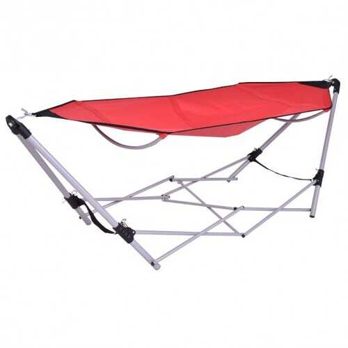 Portable Folding Steel Frame Hammock with Bag-Red - Color: Red