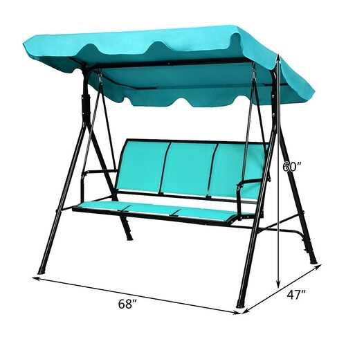 Outdoor Patio 3 Person Porch Swing Bench Chair with Canopy-Blue