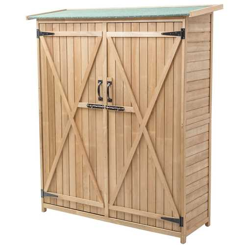 "64"" Wooden Storage Shed Outdoor Fir Wood Cabinet - Color: Wood"