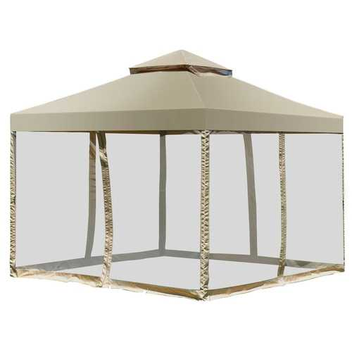 Outdoor 2-Tier 10' x 10' Screw-free Structure Shelter Awning Gazebo Canopy