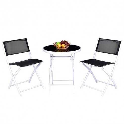 3 Pieces Patio Folding Bistro Set for Balcony or Outdoor Space-Black - Color: Black