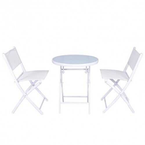3 Pieces Patio Folding Bistro Set for Balcony or Outdoor Space-White - Color: White
