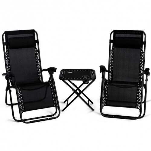 "3 Pieces Folding Portable Zero Gravity Reclining Lounge Chairs Table Set-Black - Color: Black - Size: 26.0"" x 39.5"" x 44.5"""