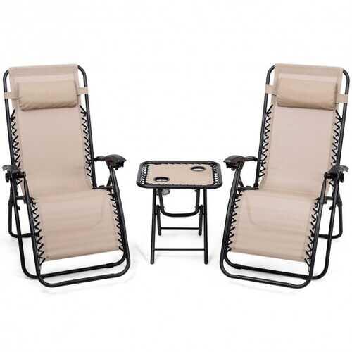 "3 Pieces Folding Portable Zero Gravity Reclining Lounge Chairs Table Set-Beige - Color: Beige - Size: 26.0"" x 39.5"" x 44.5"""