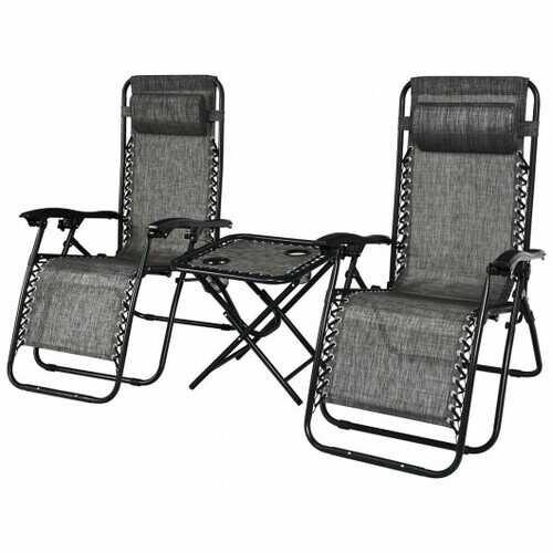 """3 Pieces Folding Portable Zero Gravity Reclining Lounge Chairs Table Set-Gray - Color: Gray - Size: 26.0"""" x 39.5"""" x 44.5"""""""