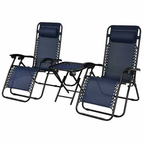 """3 Pieces Folding Portable Zero Gravity Reclining Lounge Chairs Table Set-Navy - Color: Navy - Size: 26.0"""" x 39.5"""" x 44.5"""""""