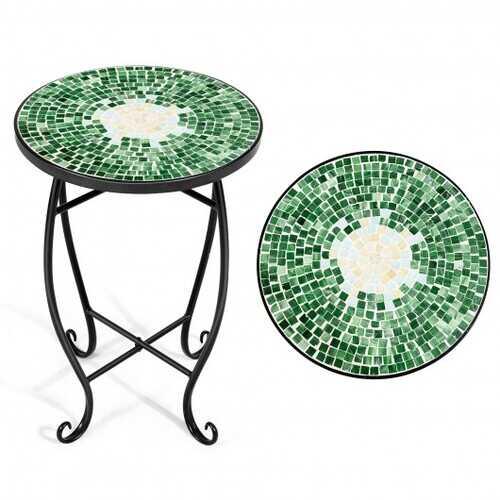 Outdoor Indoor Steel Accent Plant Stand Cobalt Table-Green