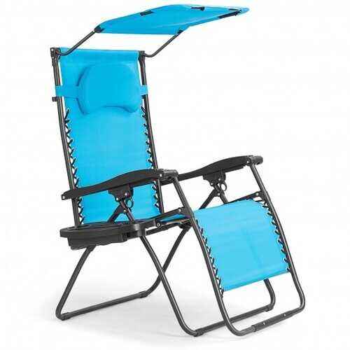 Folding Recliner Lounge Chair with Shade Canopy Cup Holder-Blue