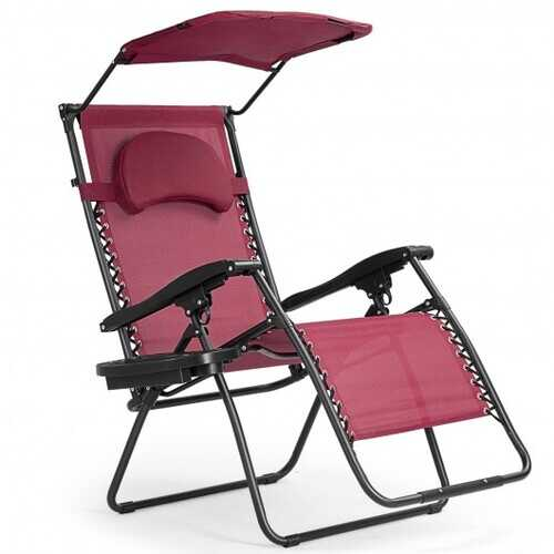Folding Recliner Lounge Chair with Shade Canopy Cup Holder-Wine