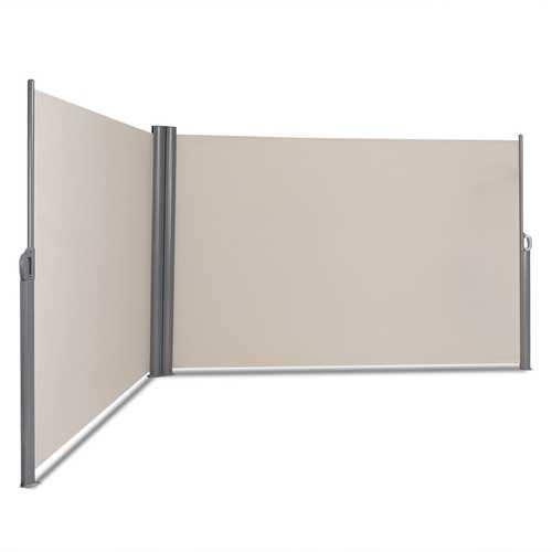 "237"" x 71"" Patio Retractable Double Folding Side Awning Screen Divider"