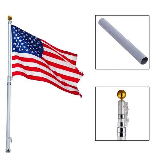 20 ft Aluminum Telescoping Flagpole Kit Outdoor Gold Ball
