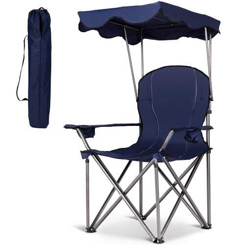 Portable Folding Beach Canopy Chair with Cup Holders-Blue - Color: Blue