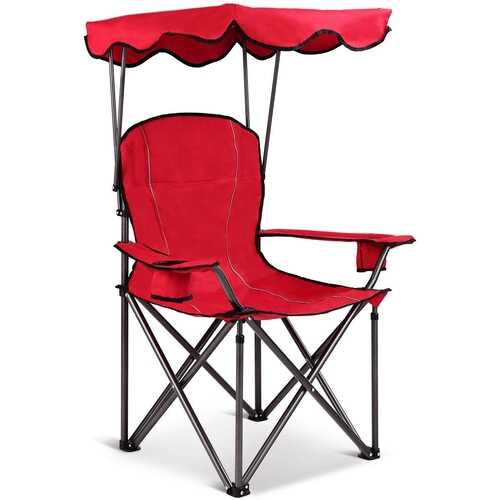 Portable Folding Beach Canopy Chair with Cup Holders-Red - Color: Red