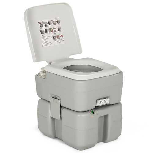 5.3 Gallon Portable Travel Toilet with Piston Pump Flush