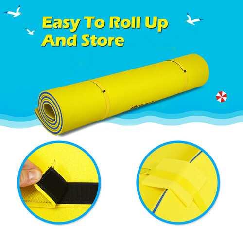 9' x 6' 3 Layer Floating Water Pad Foam Mat -Yellow