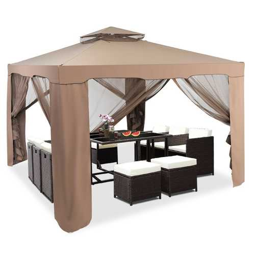 10' x 10' Canopy Gazebo Tent Shelter With Mosquito Netting Outdoor Patio